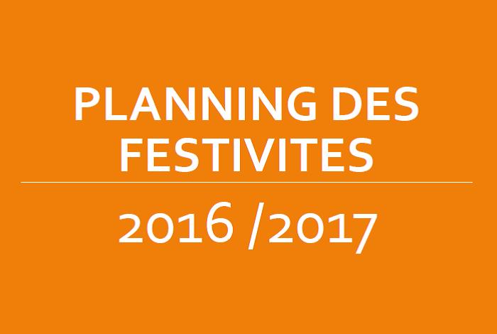 Planning des festivités 2016 2017
